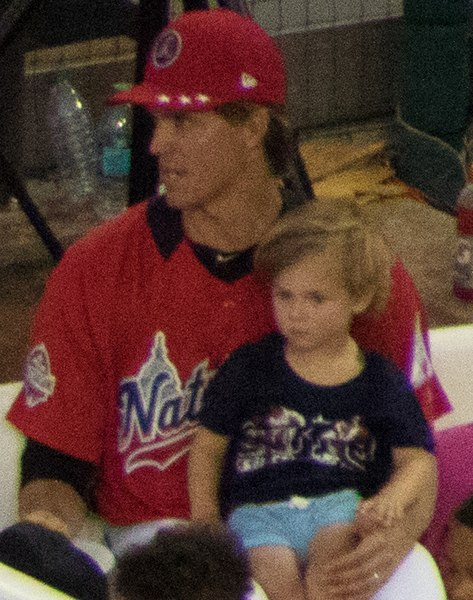 Greinke with his son at the 2018 Major League Baseball Home Run Derby