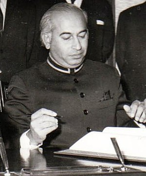 Zulfikar Ali Bhutto - Bhutto signing the Shimla Agreement in 1972