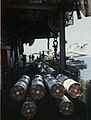 Zuni rocket launchers on USS Midway (CV-41) flight deck c1975.jpg