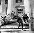 """Snowballing"" (snowball fight on the steps of the Florida Capitol, February 10 1899).jpg"