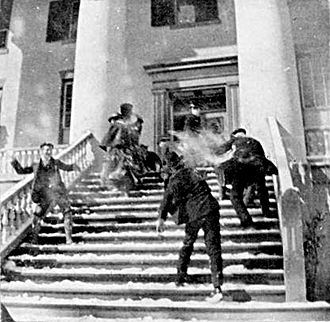 Great Blizzard of 1899 - Snowball fight on the steps of the Florida State Capitol in Tallahassee in February 1899.