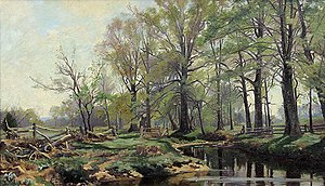 "Rahway River - ""Spring"" by Hugh Bolton Jones. Painted by the artist in the mid 1880s on the Rahway River"