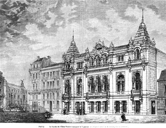 Éden-Théâtre - Entrance facade of the Éden-Théâtre (with the west facade of the nearby PalaisGarnier in the background on the left)