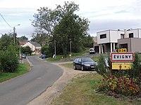 Évigny (Ardennes) city limit sign.JPG