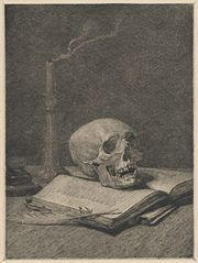 Still Life with Skull by Ignacy Łopieński