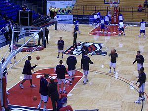 2009–10 Duquesne Dukes men's basketball team - The 2009–10 Dukes warming up prior to a game.