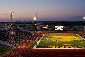 Texas A&M–Commerce Lions - Memorial Stadium in 2014 during a football game between TAMUC and East Texas Baptist