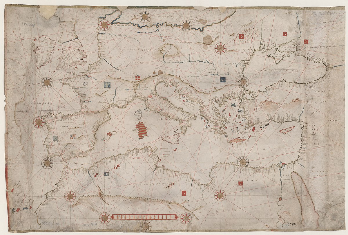 File 1524 Portolan Chart Of The Mediterranean Sea And The Black Sea By Hieronymus Verrazano Jpg Wikimedia Commons