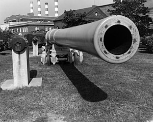 South Dakota-class battleship (1920) - A 16-inch/50 gun on display at the Washington Navy Yard.