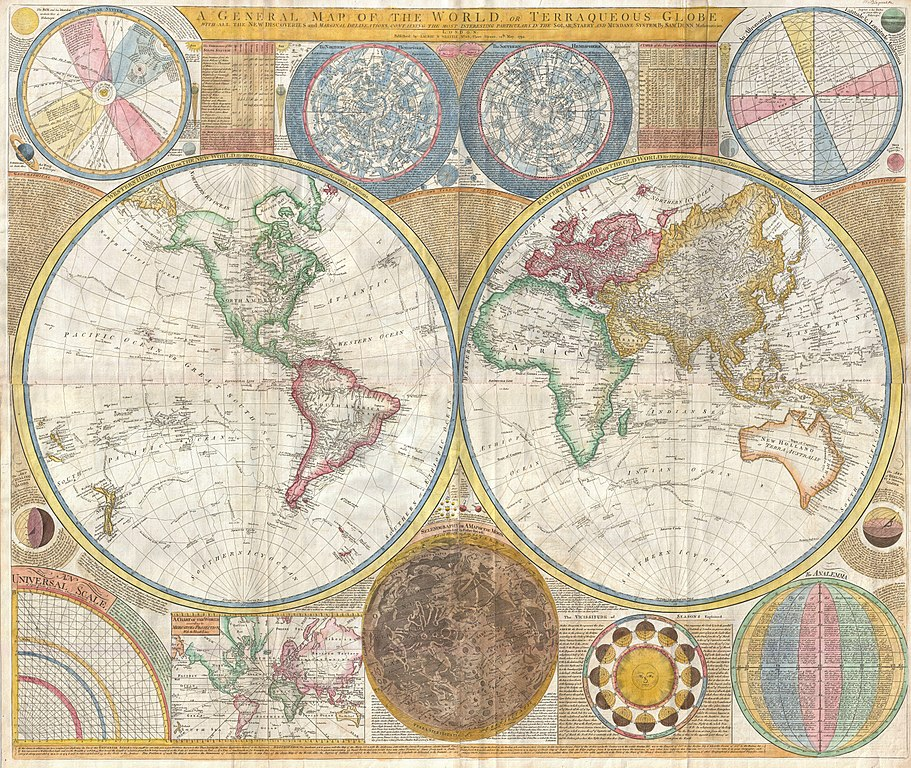 1794 - Samuel Dunn Wall Map of the World in Hemispheres - Geographicus (wikicommons)