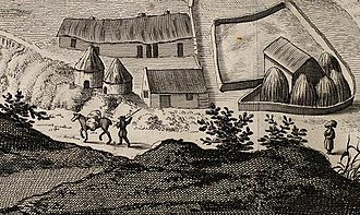 Fife - Scottish Lowlands farm. Detail from Slezer's Prospect of Dunfermline, 1693