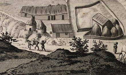 A Scottish Lowland farm from John Slezer's Prospect of Dunfermline, published in the Theatrum Scotiae, 1693