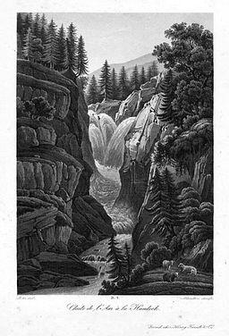 1820 - Aar Handeck Wasserfall Schweiz Original Aquatinta