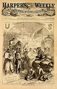Santa Claus hands out gifts during the American Civil War in Thomas Nast's first Santa Claus cartoon, Harper's Weekly, 1863.
