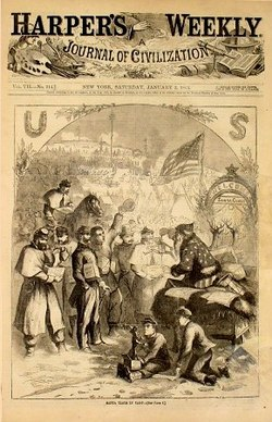 Thomas Nast's first Santa Claus cartoon, Harper's Weekly, 1863