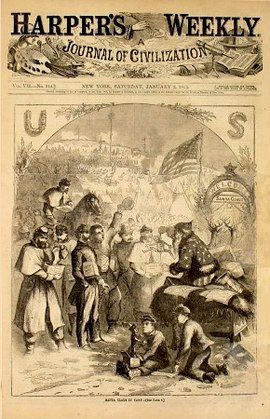 """Thomas Nast immortalized Santa Claus with an illustration for the January 3, 1863 issue of Harper's Weekly. The first Santa Claus appeared as a small part of a large illustration titled """"A Christmas Furlough"""" in which Nast set aside his regular news and political coverage to do a Santa Claus drawing. This Santa was a man dressed up handing out gifts to Union soldiers."""