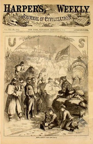 Christmas in the American Civil War - Santa Claus distributes gifts to Union troops in Nast's first Santa Claus cartoon, (1863)