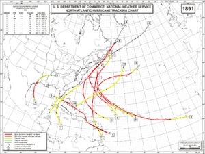 1891 Atlantic hurricane season - Image: 1891 Atlantic hurricane season map