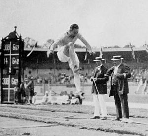 Athletics at the 1912 Summer Olympics – Men's decathlon - Eugene Mercer in long jump.
