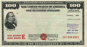 U.S. savings bonds - Image: 1944 $100 War Savings Bond Series E