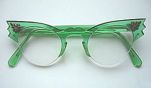 Cat eye glasses - Emerald Green women's cat eye glasses. Circa 1958