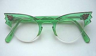 Cat eye glasses - Emerald Green women's cat eye glasses. Circa 1958