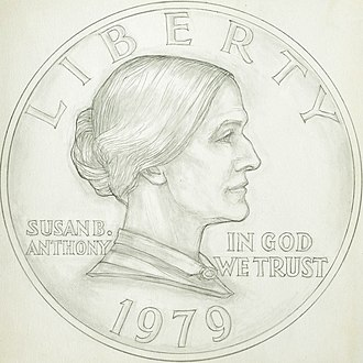 Susan B. Anthony dollar - Two drawings created by Gasparro as proposed designs for the Susan B. Anthony dollar obverse