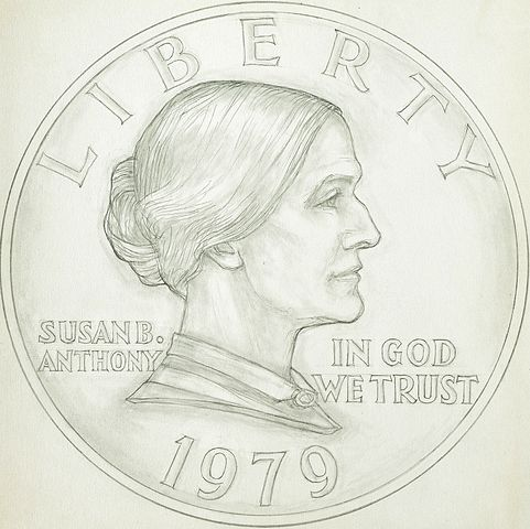 Graphite Drawing of Proposed Design for the Susan B. Anthony Dollar, public domain
