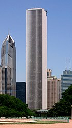 Aon Center, the city's 2nd-tallest building, with Two Prudential Plaza, Chicago's 5th-tallest, to the left