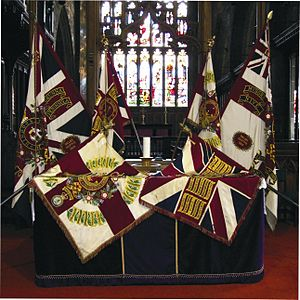 Battle honours of the British and Imperial Armies - Colours of the 1st Battalion, Duke of Wellington's Regiment (West Riding), showing emblazoned Battle Honours