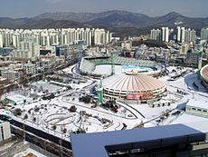 2009-01-24 - Suwon Civil Baseball Stadium from Royal Palace.JPG