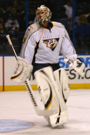 Pekka Rinne - Rinne playing for the Predators in 2010.