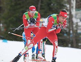 2010 Winter Olympics Johnny Spillane and Todd Lodwick in nordic combined NH10km.jpg