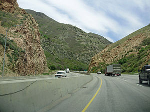 Interstate 80 in Utah - View along I-80 eastbound in Parley's Canyon