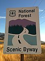 2014-11-11 16 06 38 National Forest Scenic Byway sign at the north end of Lamoille Canyon Road near Lamoille, Nevada.JPG