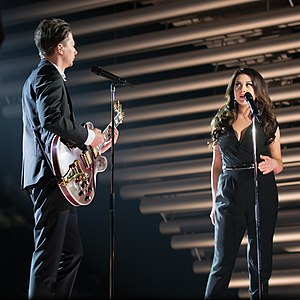 Estonia in the Eurovision Song Contest 2015 - Elina Born and Stig Rästa at a dress rehearsal for the first semi-final