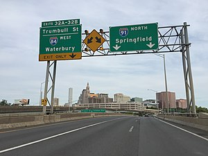 Interstate 91 - I-91 north at Exit 32 (I-84 west) in Hartford