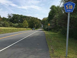 County Route 518 (New Jersey) - Typical section of CR 518 in Hopewell Township, Mercer County