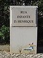 2018-01-18 Street name sign, Rua Infante Dom Henrique, Aldeia da Falésia, Olhos de Água.JPG