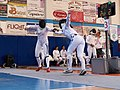 2nd Leonidas Pirgos Fencing Tournament. Double touch for Irini Mavrikiou and Nikoletta Chatzisarantou.jpg
