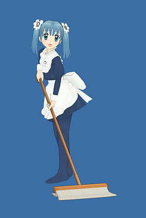 Metasequoia (software) - An anime-styled sweeping maid made with Metasequoia