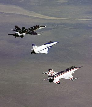 Thrust vectoring - Three experimental thrust vectoring aircraft in flight; from left to right, F-18 HARV, X-31, and F-16 MATV