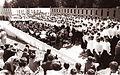 400 pevcev mešanega pevskega zbora in ravenska godba na pihala na proslavi v Ribnici na Pohorju 1961.jpg