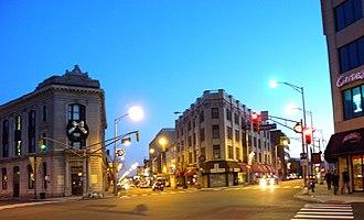 Five Corners, Jersey City - Newark Avenue on left;   Summit Avenue on right