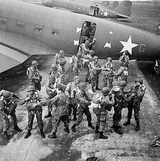 RAF Aldermaston -  Paratroopers of the 503rd US Parachute Infantry Regiment prepare to board a C-47 Skytrain of the 60th Troop Carrier Group at Aldermaston,  23 September 1942