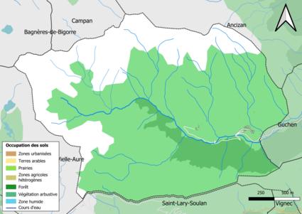 Carte en couleurs présentant l'occupation des sols.