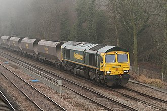British Rail Class 66 - 66 598 hauling a freight train near Chesterfield.