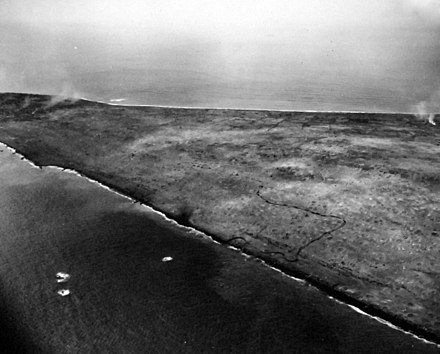 19 February 1945 air view of Marines landing on the beach 80-G-304972 (29474492816).jpg