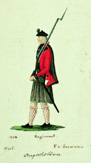 84th Regiment of Foot (Royal Highland Emigrants) - A British, Loyalist, soldier in The 84th Regiment of Foot (Royal Highland Emigrants) in traditional, kilted, uniform, drawn by a prisoner, in 1778, at Saratoga, Province of New York