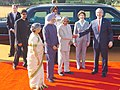 A.P.J. Abdul Kalam shaking hands with the President of the USA, Mr. George W Bush at a Ceremonial Reception at Rashtrapati Bhawan, in New Delhi. The Prime Minister, Dr. Manmohan Singh.jpg